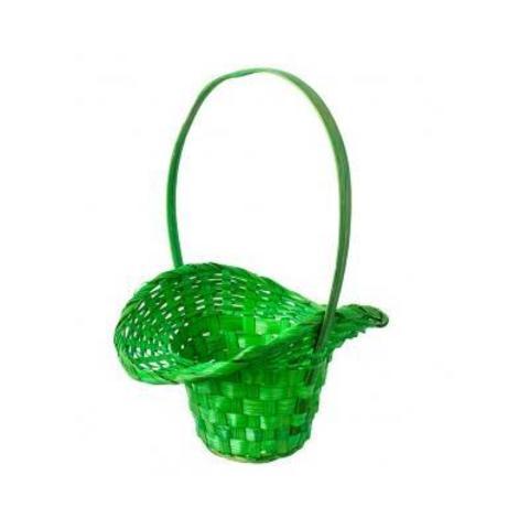 Корзина плетеная Шляпа (бамбук), D9x14/10xH30см, зеленый