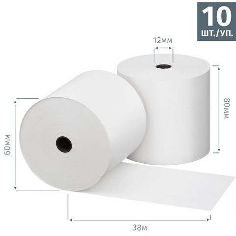 Чековая лента из термобумаги Promega jet 80 мм (диаметр 60 мм, намотка 38 м, втулка 12 мм, 10 штук в упаковке)
