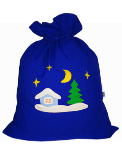 Мешок для подарков Зимняя деревня синий