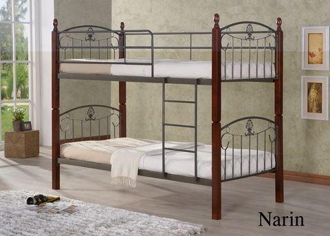 Двухъярусная кровать Narin-DD металлическая с деревянными ножками 90х190 темный орех