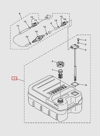 Бак топливный в сборе  для лодочного мотора T15, OTH 9,9 SEA-PRO (18-1)
