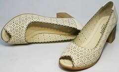 Женские туфли с перфорацией летние Sturdy Shoes 87-43 24 Lighte Beige.
