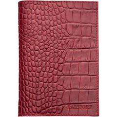 Обложка для паспорта Fabula Croco Nile из натуральной кожи красного цвета