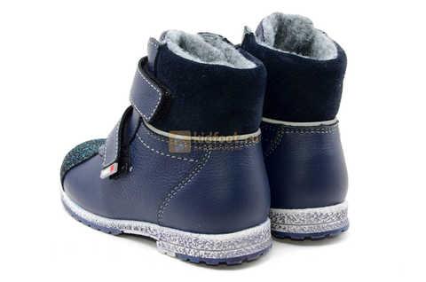 Ботинки для мальчиков Лель (LEL) из натуральной кожи на байке на липучках цвет синий. Изображение 7 из 14.
