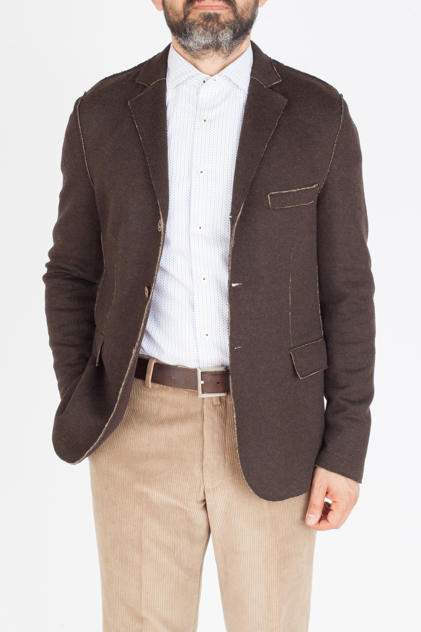 Коричневый трикотажный пиджак