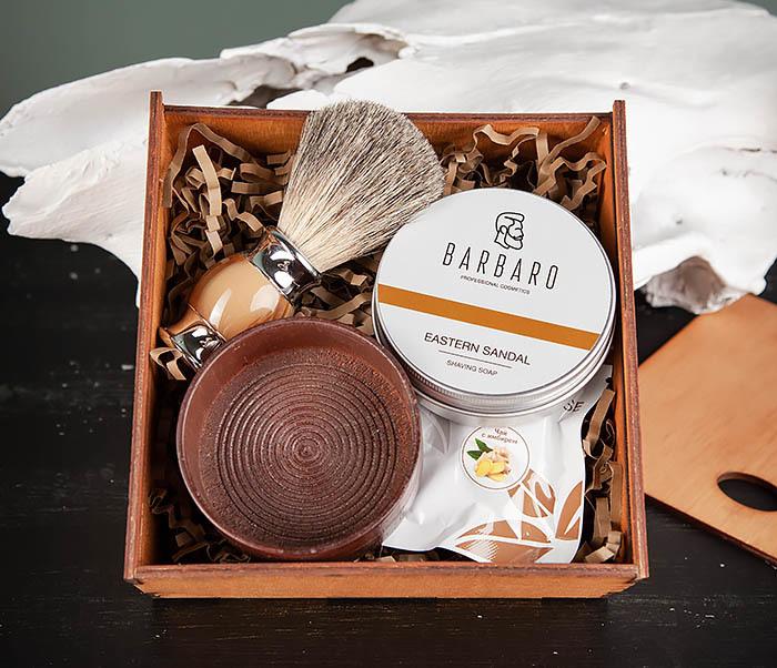 PSET103 Бритвенный набор из деревянной чаши, помазка и мыла фото 02
