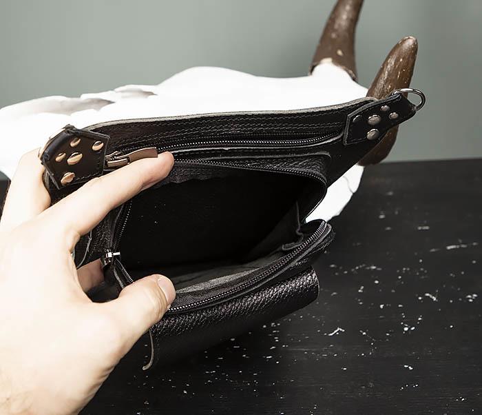 BAG369-1 Мужская набедренная сумка ручной работы из натуральной кожи фото 07
