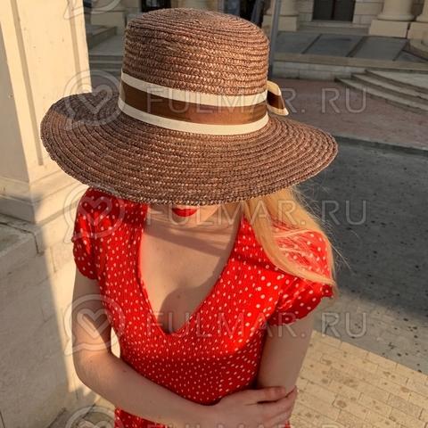 Соломенная канотье женская шляпа с лентой Коричневая