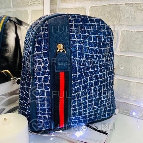 Рюкзак блестящий Синий-Серебристый с молнией LOLA  28х28х12 см