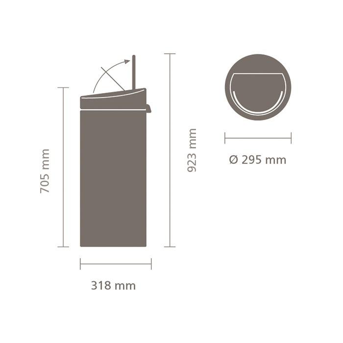 Мусорный бак Touch Bin New (30 л), Графитовый, с эффектом минерального напыления, арт. 129483 - фото 1