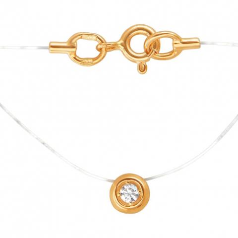 01Л611582-Колье на леске-невидимке из золота 585 пробы с бриллиантом