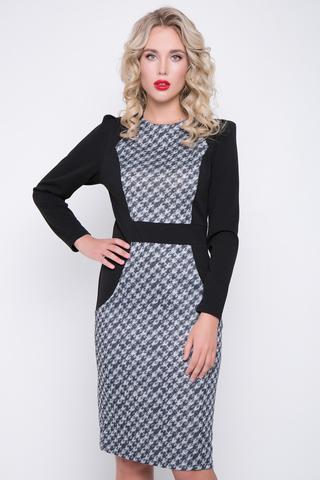 <p>Эффектное платье для офиса!!! Приталенный силуэт, комбинация расцветок, отличный трикотаж - всё это отлчно гармонирует в этой модели. Рукав длинный, по спинке замок.</p>