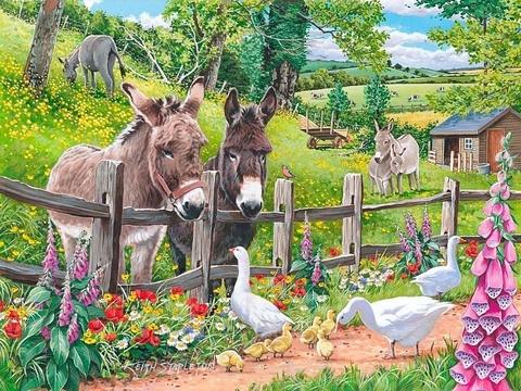 Картина раскраска по номерам 40x50 Ослики за забором