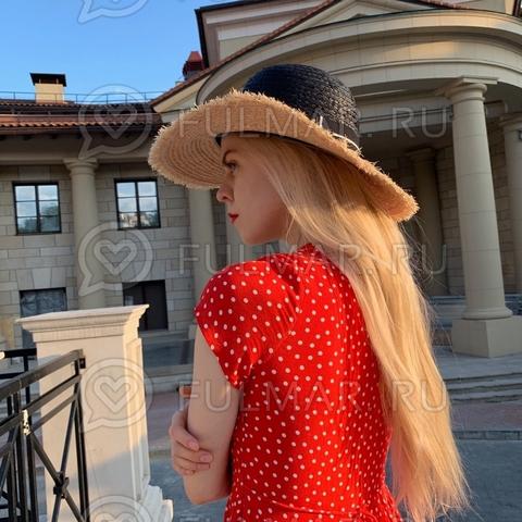 Шляпа канотье чёрная соломенная женская с лентой (цвет: бежевая, чёрная)