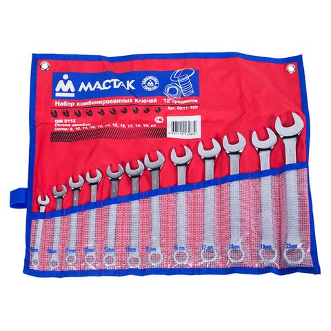 МАСТАК (0211-12P) Набор комбинированных ключей, 8-22 мм, 12 предметов