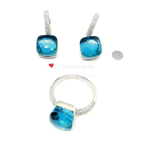 Комплект из серебра с кварцем цвета морской волны (кольцо+серьги)