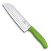 Нож Victorinox сантоку, лезвие 17 см рифленое, зеленый, в картонном блистере