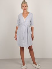 Евромама. Комплект халат и сорочка с кружевом, меланж серый вид 4
