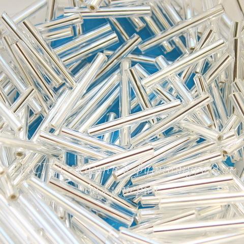 78102 Бисер Preciosa стеклярус 20 мм, прозрачный с серебряным центром