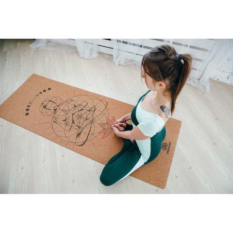 Пробковый йога коврик Сила 183*66*0,4 см