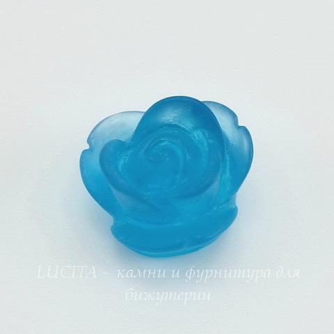 """Кабошон акриловый """"Розочка"""", цвет - голубой, 13 мм ()"""