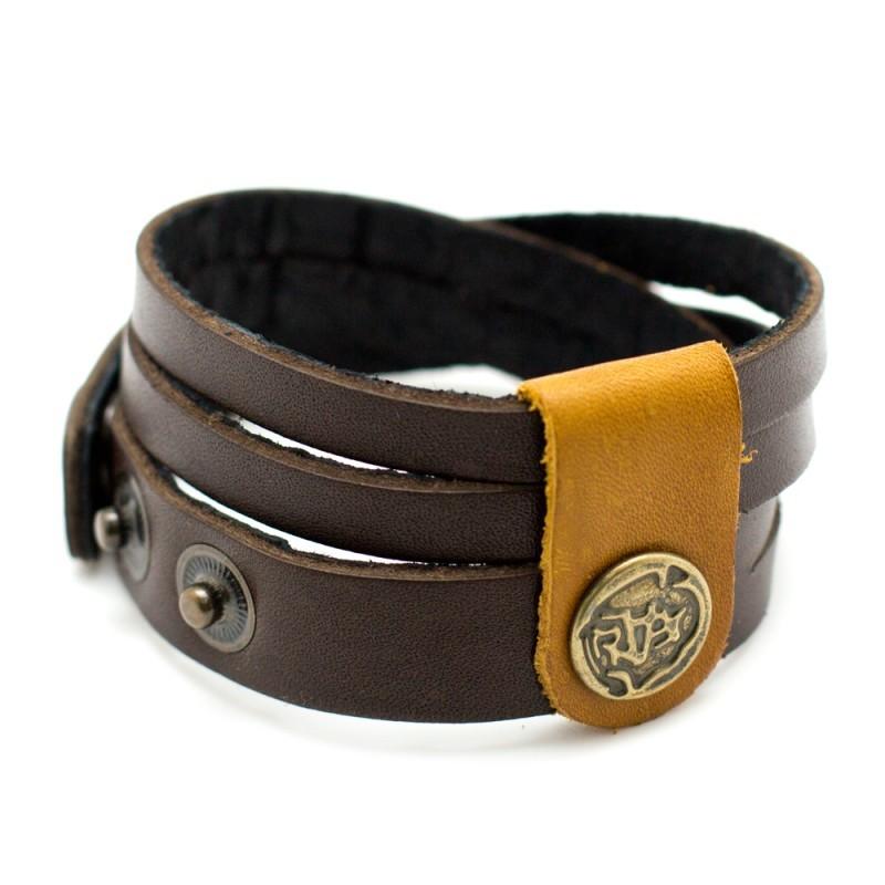 Кожаный коричневый браслет намотка TRONIN N-49