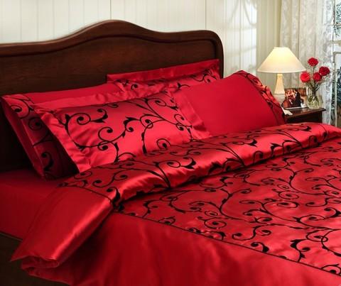 Постельное белье ASMARA красный сатин шелк с флоком TIVOLYO HOME Турция