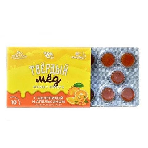 Карамель медовая со вкусом облепихи и апельсина Твердый мёд, 30г