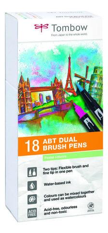 Набор маркеров Tombow ABT Dual brush pens, пастельные тона, 18 цветов.