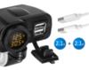 Двойная USB розетка с термометром и вольтметром на руль