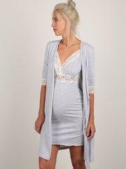 Евромама. Комплект халат и сорочка с кружевом, меланж серый вид 1