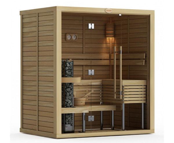 Сауны: Сауна в сборе SAWO 2020ML-PA-G (2,0м х 2,0м, осина, полностью стеклянная стена, дизайн Piano, правая)