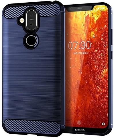 Чехол Nokia 8.1 (X7) цвет Blue (синий), серия Carbon, Caseport