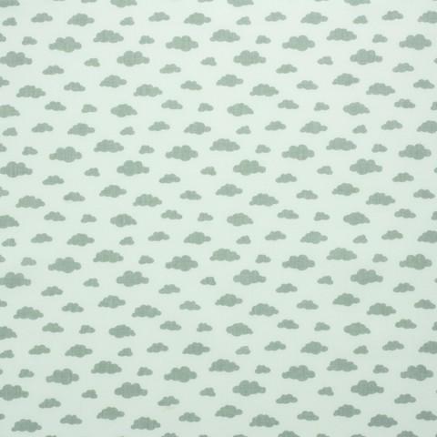 Ткань хлопковая серые облачка на белом, отрез 50*80 см