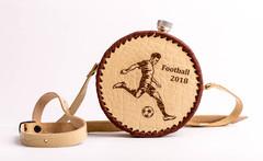 Фляга круглая в кожаном чехле «Football-2018», 500 мл, фото 1