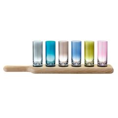 Набор из 6 стопок на подставке Paddle 40 см цветное стекло