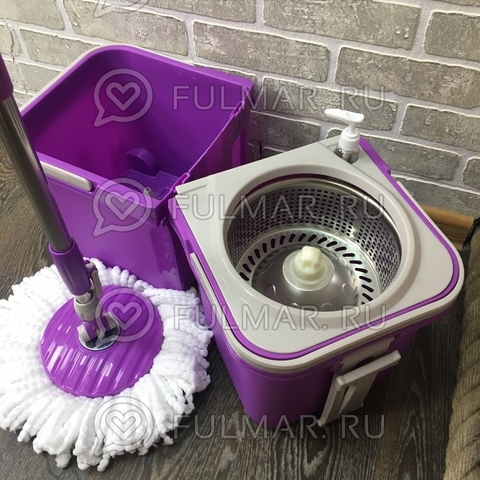 Складное ведро с отжимом на колёсах Spin Mop Stackable Wheels (комплект для мытья пола на колёсах) Фиолетовое