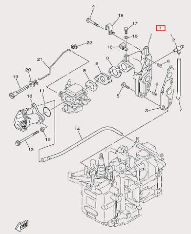 Коллектор для лодочного мотора F9,9 Sea-PRO (6-1)