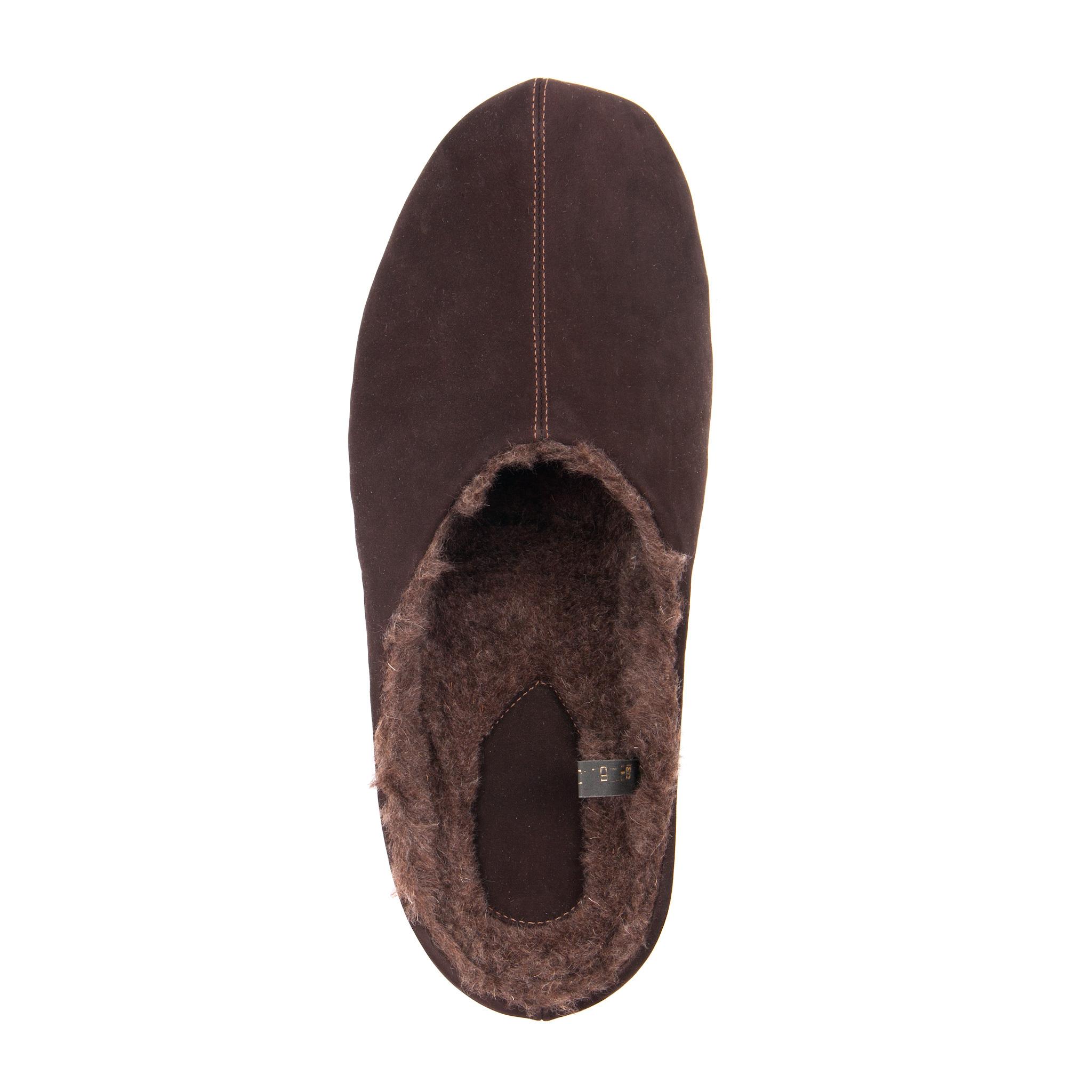 777137 туфли домашние мужские коричневые шерсть больших размеров марки Делфино