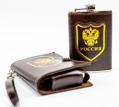 Фляжка Россия, 270 мл, в стильном чехле, фото 2