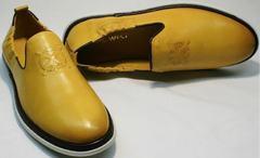 Летние туфли мужские натуральная кожа King West 053-1022 Yellow-White.