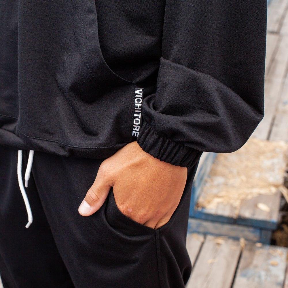Спортивный костюм oversize черного цвета на мальчика