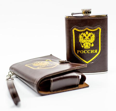 Фляжка Россия, 270 мл, в стильном чехле