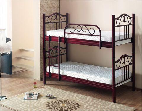 Двухъярусная кровать Seda металлическая с деревянными ножками 90х190 бордовый