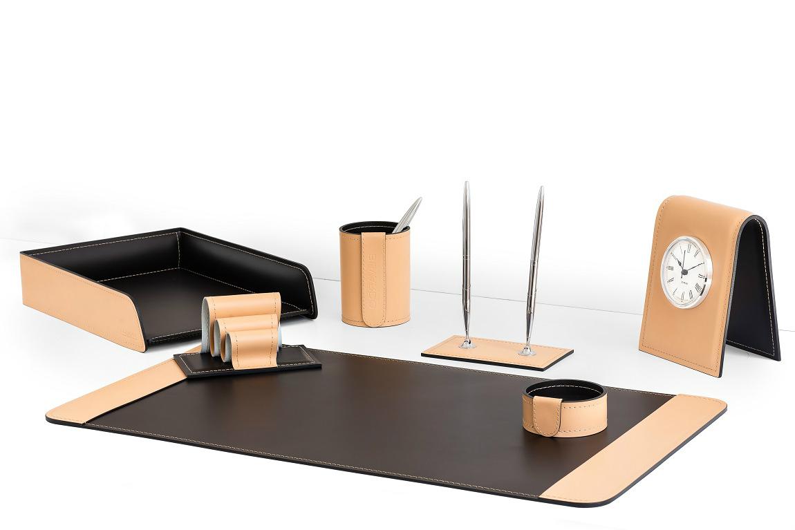 Офисный настольный набор 7 предметов из кожи натурале/шоколад