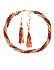 Комплект украшений золотисто-красный (длинные серьги из бисера, бусы из бисера 24 нити)