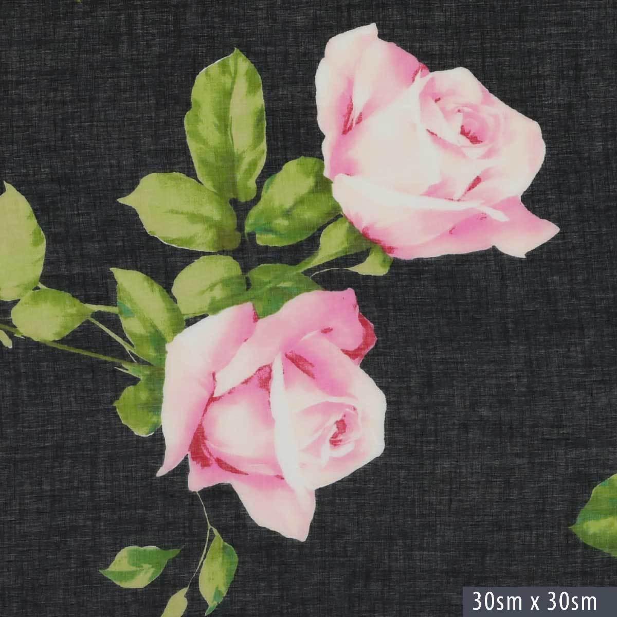Черный батист с розами