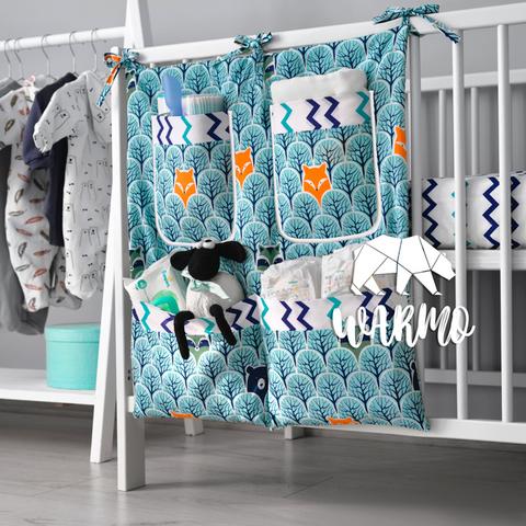 органайзер на дитяче ліжечко з м'ятним лісним малюнком фото
