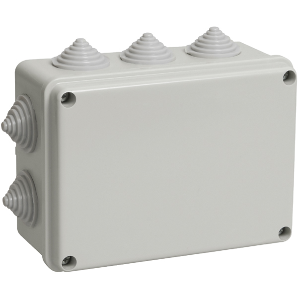 Распаячная коробка ОП 190х140х70мм, крышка, IP44, 10 гермовводов, инд. штрихкод, TDM