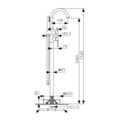 Смеситель напольный KAISER Merkur 26282 для ванны схема